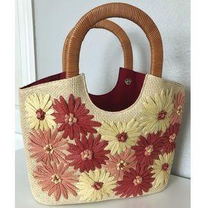 Talbots Beautiful Floral Crochet Paper Purse
